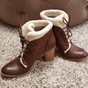 Heeled Wooly Booties NWOT